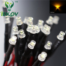 100pcs LED 3mm LED yellow leds 12V Pre Wired 20CM Resistor 12v diode Emitting Diodes Flat top Light for car DIY(China)
