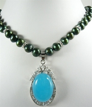 fancy design Beautiful black  pearl  & blue jades  pendant Necklace  free shipping