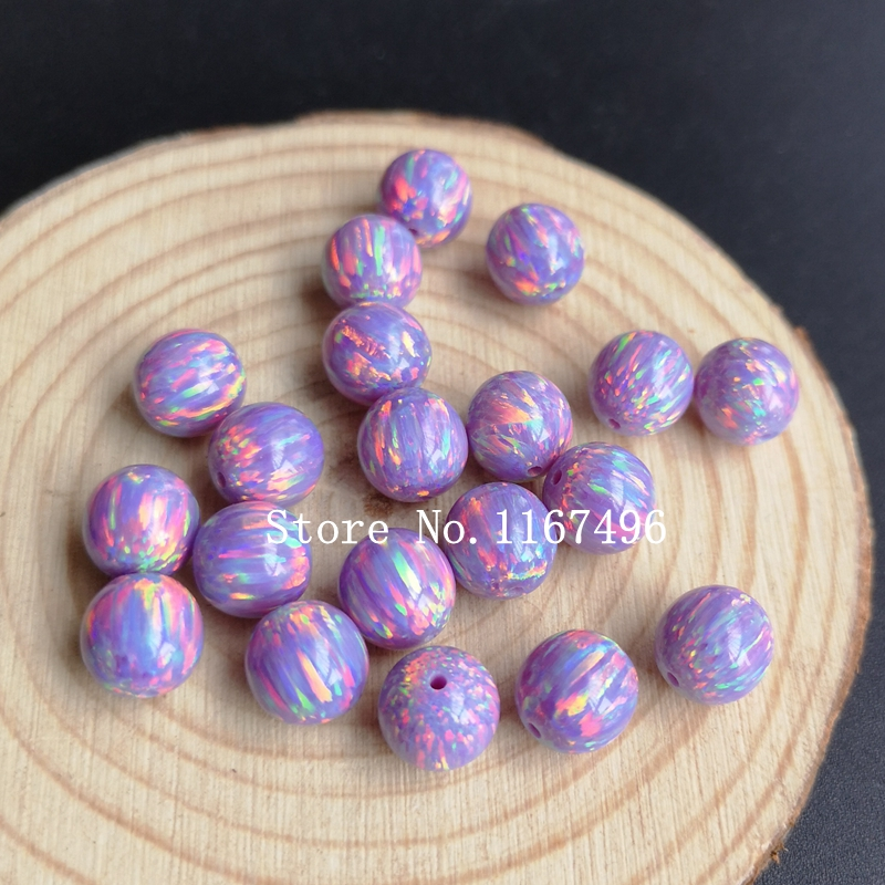 20pcs/lot OP38 Multi Lav  Round Ball Opal for Necklace Synthetic Round Ball Fire Opal Beads for Body Piercing Jewelry