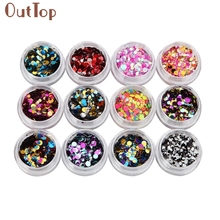 OutTop maquiagem New 12 Colors Nail Art Tips Stickers Acrylic 3D Glitter Sequins Manicure DIY Pen Beauty Tools 1 Set nail powder(China)