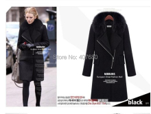 2016 Winter Hot Sale Gossip Girl Women's Elegent Slim Fashion Fur Collar Long Zipper Solid Thick Trench Woollen Coat(China)