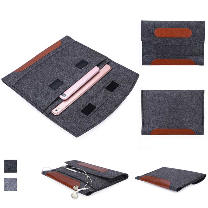 "Universal 10.5"" Briefcase Leather Case for Apple iPad 4 3 Tablet PC Slim Wool Sticky Material Handbag Smart Cover for iPad 2017(China)"