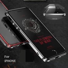 New Luxury Metal Bumper With Back Panel Shockproof Back Cover for iPhone X 5S SE 6 6S 6Plus 6SPlus 7 7 Plus 8 8Plus Accessories(China)