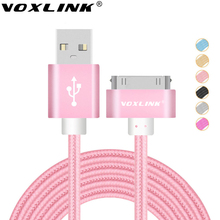 VOXLINK Nylon Braided 30 pin USB Cable Sync Data Charger Cable 0.5M/1M/2M/3M For Apple iPhone 4 4S iPad 2 3 iPod