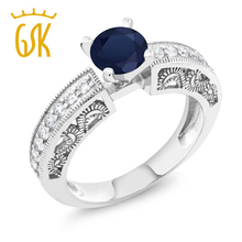 engagement rings Women Fine jewelry 1.59 Ct Round Blue Sapphire 925 Sterling Silver Ring Classical Engraving Flower Diamond Ring(China)