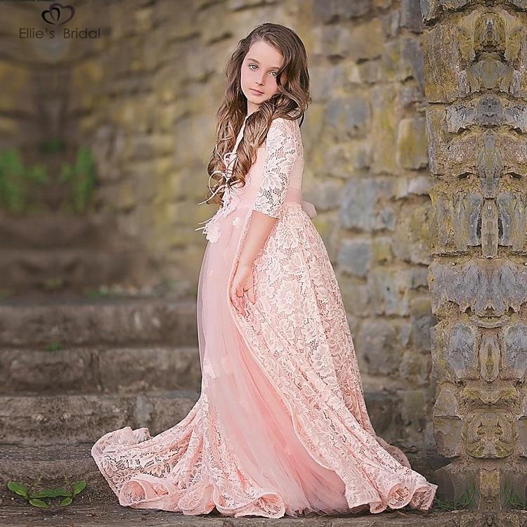 Ellies Bridal 2018 Pink Kids Pageant Dress Lace Flower Girl Dress For Wedding Half Sleeve High Quality Communion Children Dress<br>