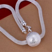 New Listing Hot sell silver plated frosted ball network chain charm women lady Necklace Fashion trends Jewelry Gifts N182(China)