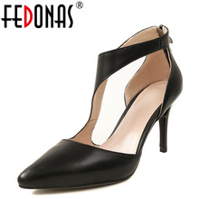 Buy FEDONAS Ankle Strap High Heels Soft Genuine Leather Shoes Ladies Thin Heel 2018 Fashion Women's Wedding Pumps Night Club Shoes for $45.76 in AliExpress store