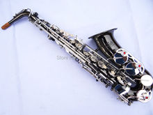 Best Selling Alto Saxophone E Flat Electrophoresis Black Nickel Silver Key Saxe Top Musical Instrument