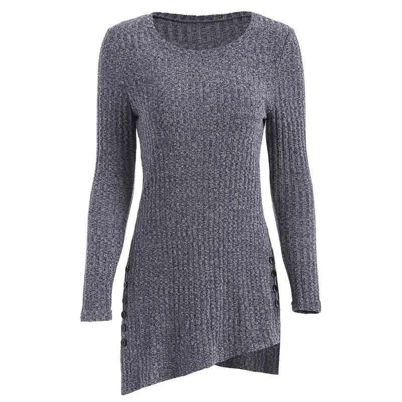 Women's Winter O-Neck Long Sleeve, Side Button, Irregular Hem, Solid Long Sweater 14