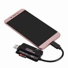 Universal OTG 2 Port USB2.0 HUB With Secure Digital Memory Card/TF/MS/MMC/M2 Card Reader Phone Extension