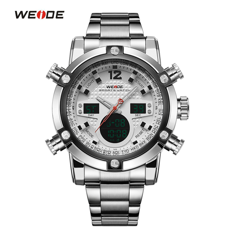 WEIDE Sport Watch Analog Digital LED Stainless Full Steel Date Day Alarm Mens Outdoor Casual Quartz Military Watches<br>