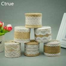 Buy 2Meter Jute Burlap rolls Hessian Ribbon Lace roll vintage rustic wedding decoration burlap wedding cake topper DIY ornament for $1.70 in AliExpress store