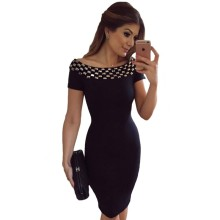 Classic women dresses summer 2017 hot selling slash neck short sleeve black summer midi dress bodycon nightclub clothing A61188