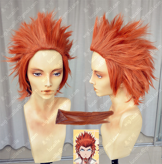 The Same Picture Of The Highest Quality Danganronpa Dangan Ronpa Leon Kuwata Orange Red Anime Hair Cosplay Wig + Red Beard + CAP<br><br>Aliexpress