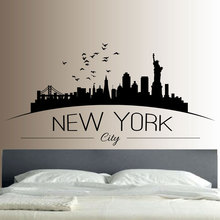 New York Skyline Wall Sticker Bedroom Lounge Wall Art Decal Removable Mural Modern City Picture Design E549(China)