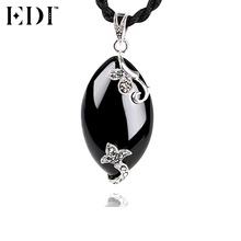 EDI 100% Pure 925 Sterling Silver Gemstones Pendants Necklace for Women Oval Statement Pendants Necklace for Valentine' Day Gift(China)