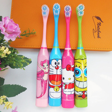 Kids SpongeBob Hello kitty Oral Hygiene Dental Care Battery Operated Electric Toothbrush 2 Brush Heads Tooth Brush Replacement