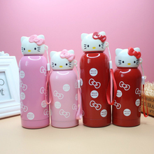 Hello Kitty Stainless Steel Girls Vacuum Cup Lovely Cartoon Kids Portable Heat Preservation Cup Outdoors Water Bottle(China)