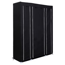 SDFC DOUBLE TRIPLE MULTIPLE CANVAS WARDROBE RAIL W/HANGING HOME FURNITURE STORAGE Black