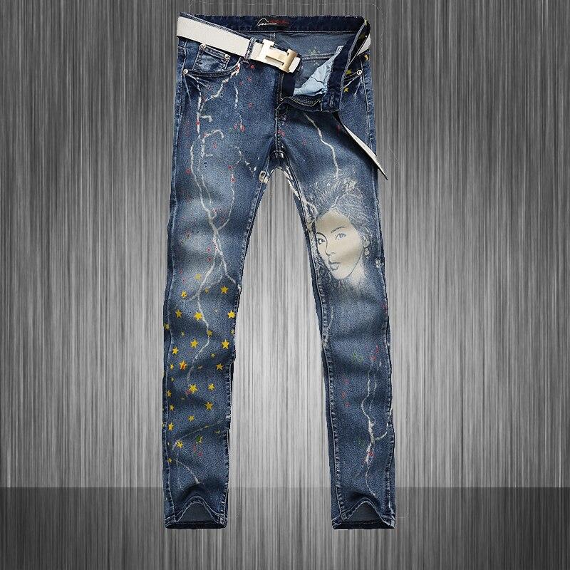 Fashion Men Jeans Flag Printing Stars And Striped Design Blue Stretch Cotton Slim Fit Straight Jeans Men MB564 Z20Одежда и ак�е��уары<br><br><br>Aliexpress