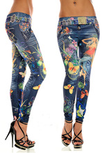 sexy leggings Seamless imitation cowboy coloured drawing printed leggings tattoo leggings panty leggings(China)