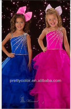 Royal Blue Fuchsia One Shoulder Tiered Organza Floor Length Long Fashion Sparkle Sequin Dress Pageant Girls Dresses