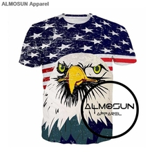 ALMOSUN USA American Flag Eagle Patriot 3D All Over Print T Shirts Hipster Short Sleeve Summer Hawk Street Wear Tee US Size(China)