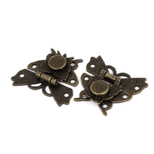 UXCELL Weight Antique Style Wood Case Box Butterfly Shape Hasp Lock Latch Bronze Tone 2 Set 36g