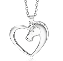 1 pcs Women Men Swift Horse Heart Silver White Gold Color Necklace Chain Pendant charming fine jewelry for women girl mom gifts