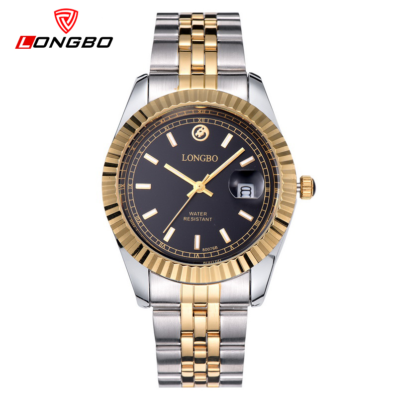 LONGBO Mens Watches Top Brand Luxury Stainless Steel Golden Clocks Luxe Watch Men Classic Business Saat Erkekler 80076M<br>