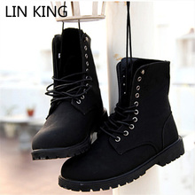 LIN KING Designer Men Boots Fashion Lace Up Mid Calf Shoes Vintage Martin Boots Work Safety Male Shoes High Top Winter Shoes
