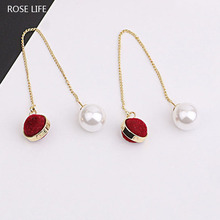 ROSE LIFE Fashionable Pearl Hair Ball Long Paragraph Decorative Earrings Female Temperament Wild Popular Earrings