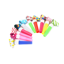 10Pcs/lot Colorful Whistles Kids Childrens Birthday Party Blowing Dragon Blowout Baby Birthday Supplies Toys gifts 7.5cm*0.8cm(China)