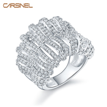 CARSINEL New arrival top quality Zircon engagement finger ring silver color rings for weeding party gift RI0123