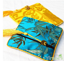 Free shipping! 2016 New Silk Coin Purses Chinese Traditional Business Gift Zipper Embroidery Coin Bag Brocade wallet card bag(China)