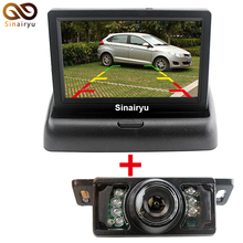 "2CH Video 4.3 "" Foldable TFT LCD Color Rearview Mirror Car Monitor+7LED IR Night Vision Car Rear View Parking Camera,FreeShip"