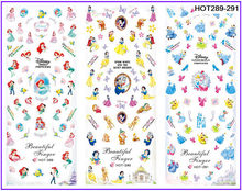 3 PACKS / LOT CARTOON PRINCESS  WHITE SNOW MERMAID NAIL TATTOOS STICKER WATER DECAL NAIL ART HOT289-291