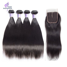 Malaysian Straight Hair 3 Bundles With Closure Human Hair Bundles With Closure Middle Part 4pcs/lot Modern Show Weave Non Remy(China)
