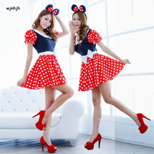 Mujeres sexy red white polka dot dulce minnie mouse fancy dress de halloween cosplay del traje del o-cuello mini dress diadema