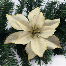 8Pcs NEW 13cm Christmas Artificial Flowers Gold Side Xmas Tree Decorations Wedding Party Decor Ornaments