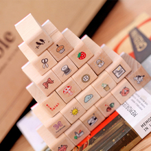 21 Pcs/lot exquisite wooden box Korean cartoon small wooden seal wooden gift set diary cute decorative painting seal(China)