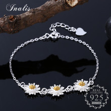 INALIS 925 Sterling Silver Daisies Charm Bracelet for Women Elegant Chrysanthemum Bracelets & Bangles Sterling Silver Jewelry(China)