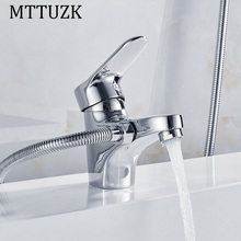 MTTUZK Chrome Brass Shower Set Hot and Cold  Mixer Double Handle Shower Deck Mounted Bathtub Faucet Shower Set Free Shipping