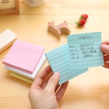 1pc cute memo pad stripe sticker post it note sticky for school & office supplies stationery candy color yellow green blue pink