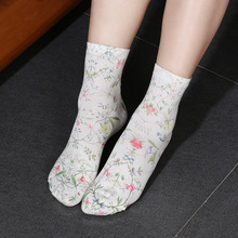 1Pair Women Cotton Socks Casual Retro Flower Printing Ankle Socks  Knitted Soft Short Socks Spring Fall Casual Socks Accessores