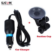 Car Charger + Suction Cup Bracket For All Sjcam SJ4000 Sj4000 Wifi Sj4000 Plus Sports Action Camera Holder Accessories
