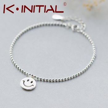 Kinitial 1Pcs 925 Silver Smile Emoji Smile Round & Lucky Beads Chain Bracelet Bangle Adjustable Charm Wrist Cuff Brcelet Jewelry