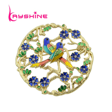 Kayshine Luxury Brand Women Jewelry Gold-Color With Blue Green Colorful Enamel Leaf Flower Bird Shape Brooch Accessories(China)