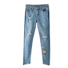 Summer Rose Embroidery elastic slim slim jeans trousers female hole gap side shadow jeans